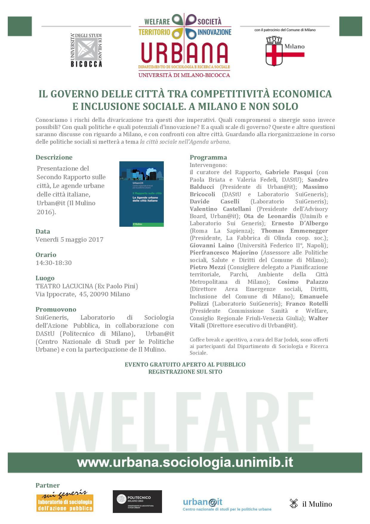 """SuiGeneris per la rassegna """"Urbana: Qualità della Vita e Innovazione Sociale"""""""