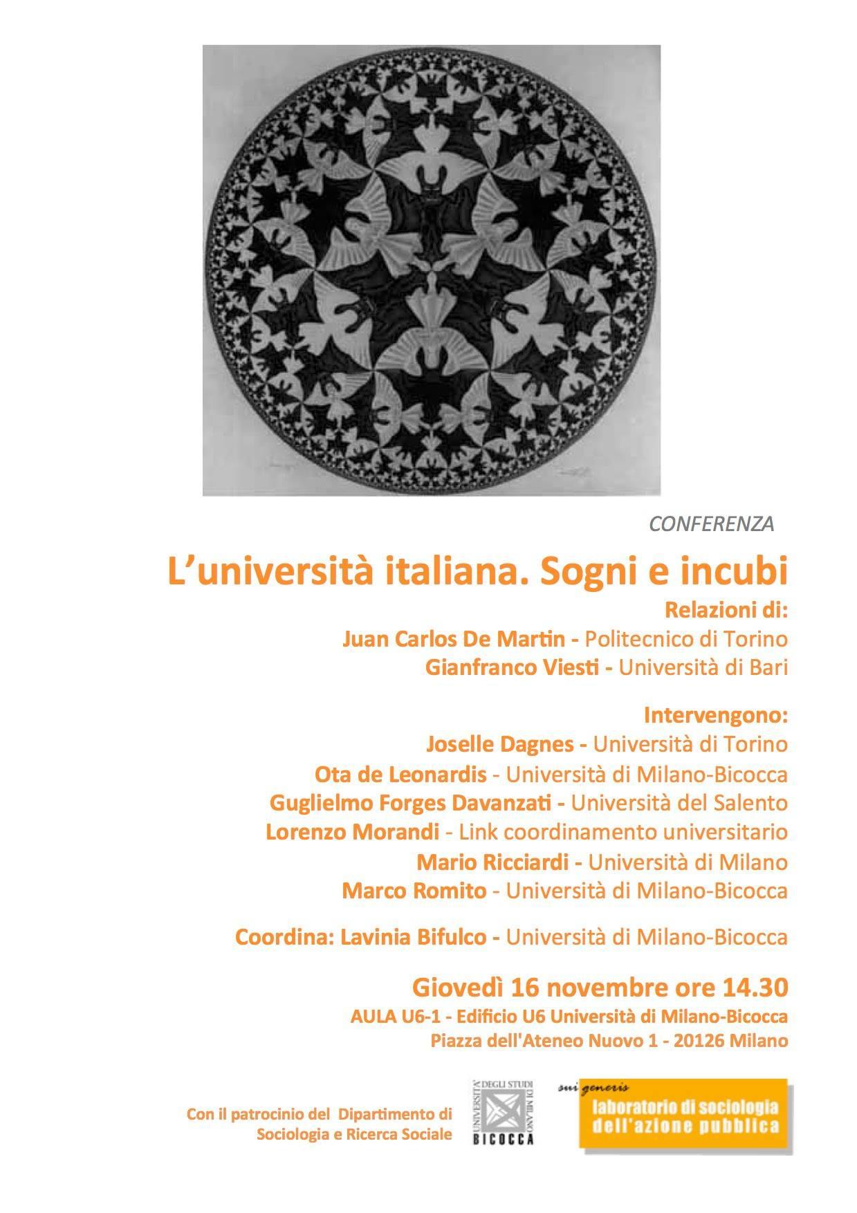 Conferenza: L'università italiana. Sogni e incubi